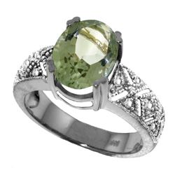 Genuine 3.2 ctw Green Amethyst & Diamond Ring Jewelry 14KT White Gold - REF-95H7X