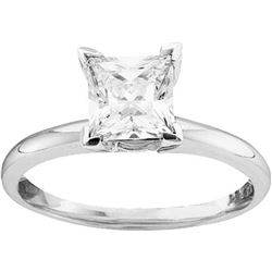 1 CTW Princess Natural Diamond Solitaire Certified Bridal Engagement Ring 14K White Gold