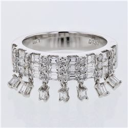 Baguette & Round Prong-set Diamond Ring in 18K White Gold - REF-174M3F
