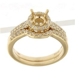 14K Yellow Gold 0.48CTW Diamond Wedding Ring Set - REF-93W8H