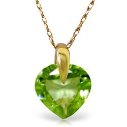 Genuine 1.15 ctw Peridot Necklace Jewelry 14KT Yellow Gold - REF-13W2Y