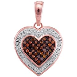 0.12 CTW Red Colored Diamond Heart Love Pendant 10K Rose Gold
