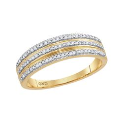 0.15 CTW Natural Diamond Striped Band 10K Yellow Gold