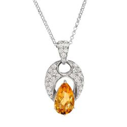 14KWhite Gold 6.3 CTW Citrine & Diamond Necklace - REF-218R8K