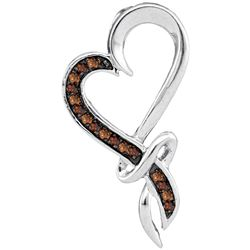 0.1 CTW Cognac-brown Colored Diamond Heart Love Valentines Pendant 10K White Gold