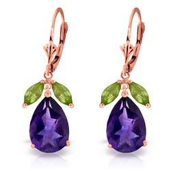 Genuine 13 ctw Amethyst & Peridot Earrings Jewelry 14KT Rose Gold - REF-61K2V