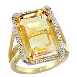 Natural 13.72 ctw Citrine & Diamond Engagement Ring 10K Yellow Gold - REF-65N2G