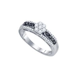 0.45 CTW Black Colored Diamond Cluster Ring 10K White Gold