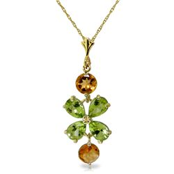 Genuine 3.15 ctw Peridot & Citrine Necklace Jewelry 14KT Yellow Gold - REF-30F3Z