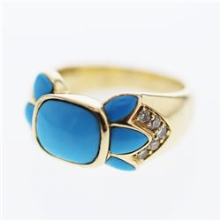 Cushion Turquoise w/ Diamond accent Ring in 14K Yellow Gold - REF-55Y3X