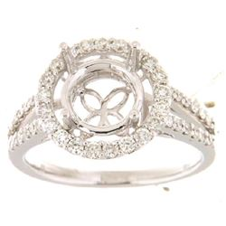 14K White Gold 0.64CTW Ladies Diamond Ring - REF-90R3K
