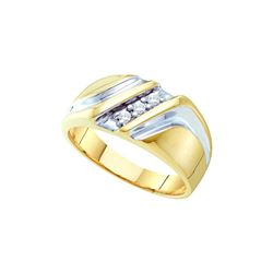0.1 CTW Mens Natural Diamond Anniversary Band 10K Multi-Tone Gold