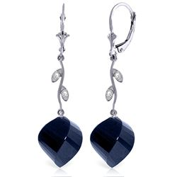 Genuine 30.52 ctw Sapphire & Diamond Earrings Jewelry 14KT White Gold - REF-66K2V