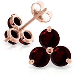 Genuine 1.50 ctw Garnet Earrings Jewelry 14KT Rose Gold - REF-18F2Z