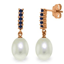 Genuine 8.4 ctw Pearl & Sapphire Earrings Jewelry 14KT Rose Gold - REF-25M6T