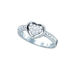 0.3 CTW Natural Diamond Heart Love Ring 14K White Gold