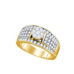 1.20 CTW Natural Diamond Cocktail Ring 10K Yellow Gold