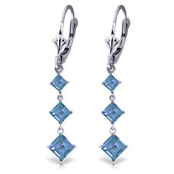 Genuine 4.79 ctw Blue Topaz Earrings Jewelry 14KT White Gold - REF-50R2P