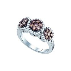 1.05 CTW Cognac-brown Colored Diamond Cluster Ring 10K White Gold
