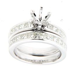 14K White Gold 1.97CTW Diamond Wedding Ring Set - REF-314Y8X
