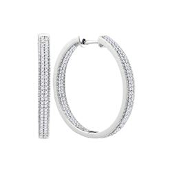 1 CTW Natural Diamond Hoop Earrings 10K White Gold