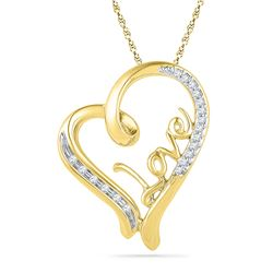 0.1 CTW Natural Diamond Heart Love Valentines Pendant 10K Yellow Gold