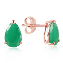 Genuine 2 ctw Emerald Earrings Jewelry 14KT Rose Gold - REF-34A3K