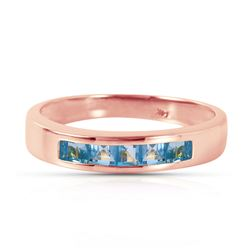 Genuine 0.60 ctw Blue Topaz Ring Jewelry 14KT Rose Gold - REF-46X2M