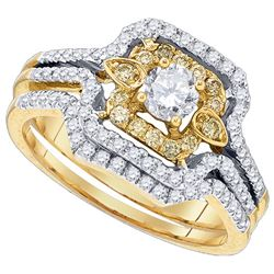 0.75 CTW Natural Yellow Diamond Bridal Engagement Ring 14K Yellow Gold