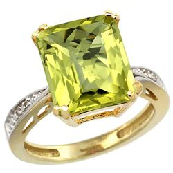 Natural 5.42 ctw Lemon-quartz & Diamond Engagement Ring 10K Yellow Gold - REF-55A5V
