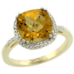 Natural 4.11 ctw Whisky-quartz & Diamond Engagement Ring 14K Yellow Gold - REF-42F9N