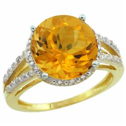Natural 5.34 ctw Citrine & Diamond Engagement Ring 14K Yellow Gold - REF-45A5V