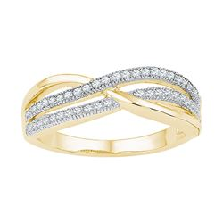 0.2 CTW Natural Diamond Crossover Band 10K Yellow Gold