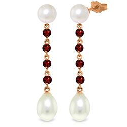 Genuine 11 ctw Pearl & Garnet Earrings Jewelry 14KT Rose Gold - REF-28X8M