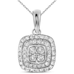 0.33 CTW Natural Diamond Square Cluster Pendant 14K White Gold