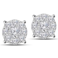 14K White 1.42CTW Ladies Diamond Earring - REF-174A3N
