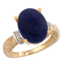 Natural 5.53 ctw Lapis & Diamond Engagement Ring 10K Yellow Gold - REF-38G9M