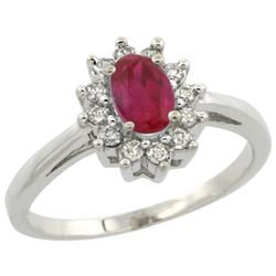 Natural 0.82 ctw Ruby & Diamond Engagement Ring 14K White Gold - REF-48M5H