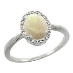 Natural 0.75 ctw Opal & Diamond Engagement Ring 10K White Gold - REF-20A2V