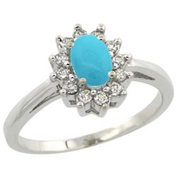 Natural 0.67 ctw Turquoise & Diamond Engagement Ring 14K White Gold - REF-49Z2Y