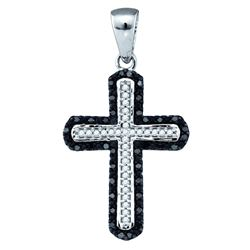 0.2 CTW Black Colored Diamond Cross Pendant 10K White Gold