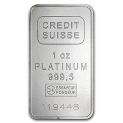 Genuine 1 oz 0.9999 Fine Platinum Bar - Credit Suisse