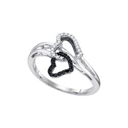0.15 CTW Black Colored Natural Diamond Double Heart Love Ring 10K White Gold