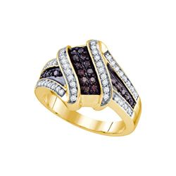 0.55 CTW Cognac-brown Colored Diamond Ribbon Crossover Cocktail Fine Ring 10K Yellow Gold