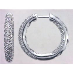 14K White Gold 0.94CTW Diamond Hoop Earring - REF-120H7W