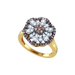 0.7 CTW Cognac-brown Colored Diamond Flower Cluster Ring 10K Yellow Gold