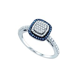 0.4 CTW Blue Colored Diamond Square-shape Cluster Ring 10K White Gold