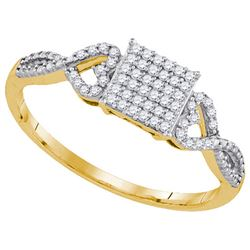 0.18 CTW Natural Diamond Square Cluster Ring 10K Yellow Gold