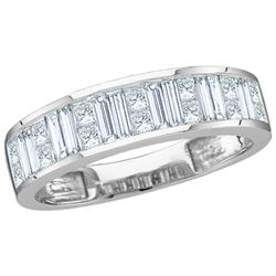 1 CTW Baguette & Princess Natural Diamond Anniversary Band 14K White Gold