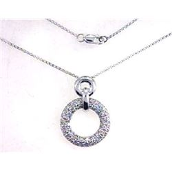 14K White Gold 1.19CTW Diamond Necklace - REF-122A2N